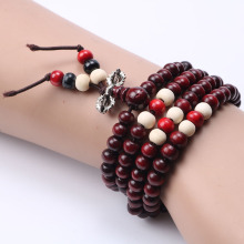 Fashion Natural Ebony 6mm Rosewood Beads 108 Buddha Bracelets Men / Women Long Bangle Religion Gift Wholesale Tibet Jewelry(China)