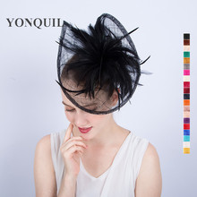 18 Colors and Black Sinamay fascinator hat special shape feather headbands royal ascot accessories wedding party cocktail SYF121