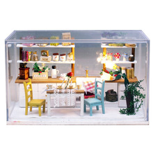 G005 DIY glass house Doll House Furniture Diy Miniature kitchen 3D Wooden Miniaturas dream kitchen with Dust Cover LED lights