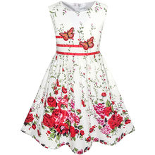 Sunny Fashion Girls Dress Butterfly Flower Sundress Party Cotton 2017 Summer Princess Wedding Dresses Girl Clothes Size 4-12
