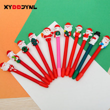 2pcs Christmas Theme Ballpoint Pen Soft Pottery Santa Claus Snowman Ball Pen Kawaii stationery Student prizes gift Mixed send