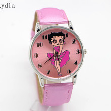 Wrist Watch for Women Leather Band Betty Boop Pattern Black Stylish Watch(China)