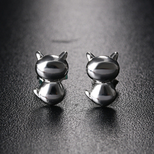 1 Pair Three-dimensional Cute Cat Earrings Silver Plated Smooth Scrub Ear Stud Jewelry  For Women Girls Kitten Cat Earings Scrub
