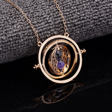 Hot Quality Exquisite Harry Time Turner Necklace Hermione Granger Rotating Spins Gold Hourglass Vintage Round Sandglass Jewelry(China)