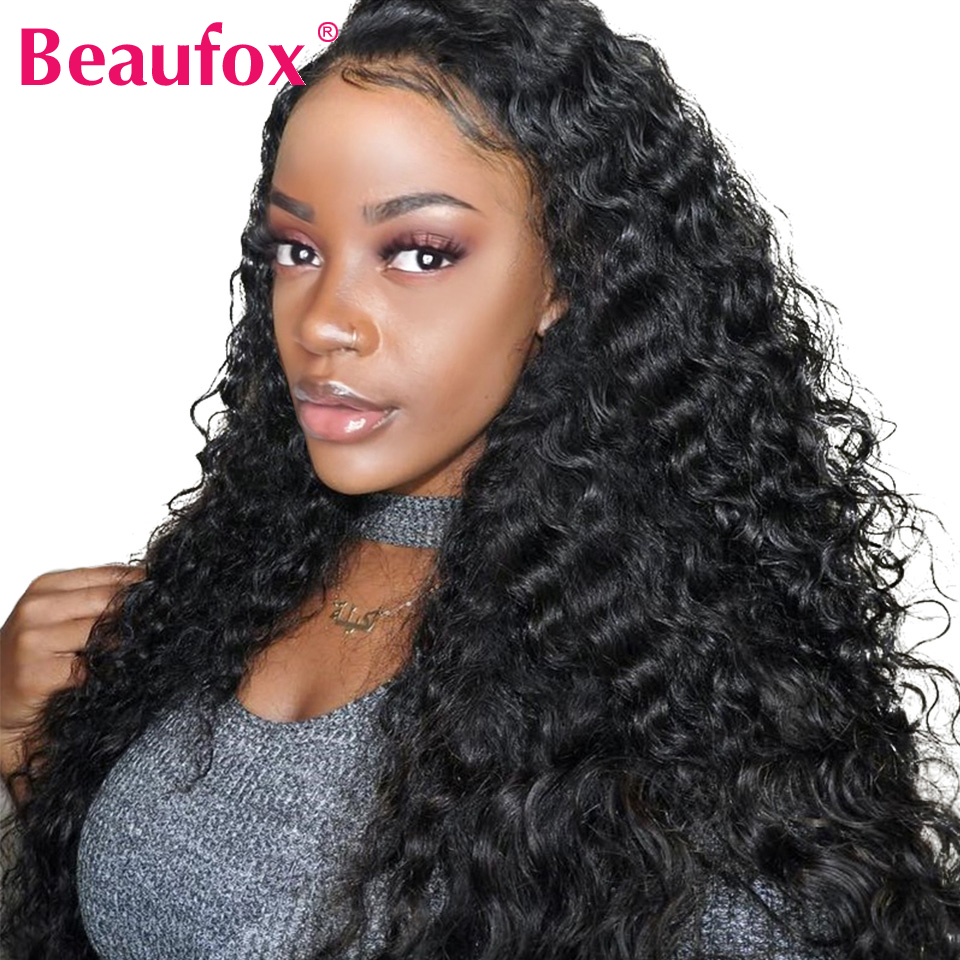 Lace Front Human Hair Wigs Brazilian Deep Wave Wig Pre Plucked Lace Wig With Baby Hair Natural Color 150% Remy Beaufox Hair(China)