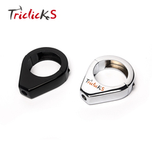Triclicks Black Chrome 41MM CNC Aluminum Motorcycle Turn Signal Mount Bracket Fork Relocation Clamps For Harley Softail Fatboy(China)