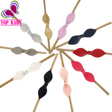 10Pcs/lot 2017 Boutique Leather Leaves Headband Bow Knotted Elastic Nylon Hairband Girls Kid Chic Hair Accessories