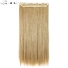 SNOILITE 24inch Synthetic Long Straight Hair Extensions One Piece Half Full Head Hairpiece Clip in Hair Piece
