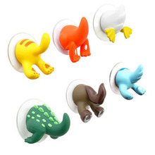 1pcs clothing key hanger Key Towel Hanger Holder Hooks Cartoon Lovely Animal Tail Rubber Sucker Hook kitchen wall accessories