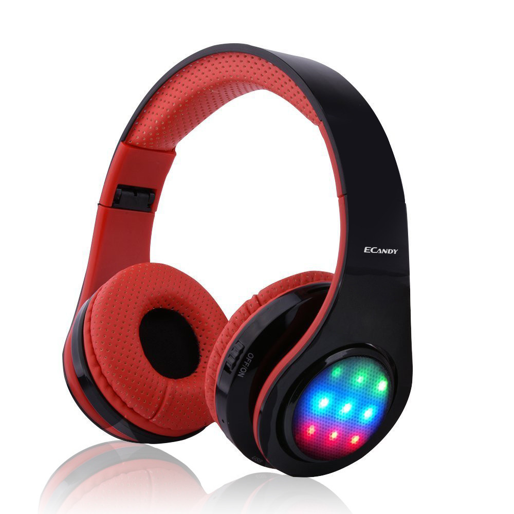 ECandy Bluetooth Headphone Wireless Stereo Hifi Sound Music Noise Cancellation Headset Foldable Earphones for Iphone (Red)<br>