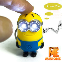 Cute Cartoon Movie Led Light 3D Despicable Me 2 Mini Minion Keychains Doll PVC Action Figure Toys With Sound Children Kids Gifts
