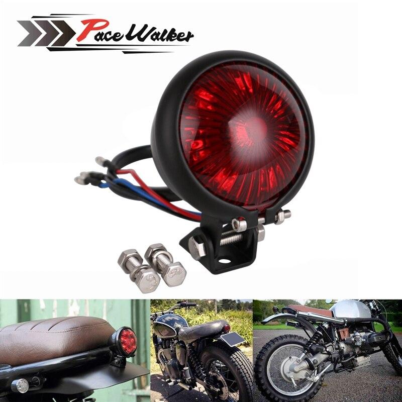 Motorcycle Brass LED Rear Stop Brake Tail Light For Cafe Racer Chopper Bobber
