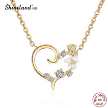 Shineland 100% Real 925 Sterling Silver Love Heart Sweet Flower Crystal CZ Pendant Necklaces for Women Girl Colier Bijoux Gift