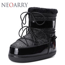 Neoarry Shining Snow Boots Women Winter Ankle Boots Lace up Wool Fashion Shoes Woman Thick Heel Waterproof Black Warm Botas LT54(China)