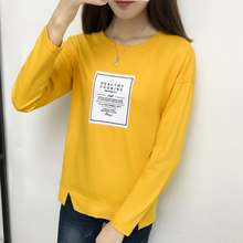 Buy Femme 2018 Autumn Fashion Color Patchwork T Shirt Women Long Sleeves Tshirt O-Neck Womens Clothing Mujer Black Yellow T-Shirts for $9.85 in AliExpress store