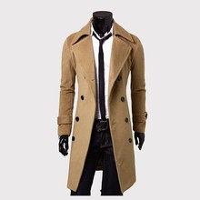 New Brand Men Wool Coat Quality Wool Blends Long Overcoat Male Winter Pea Coat Drop Shipping(China)
