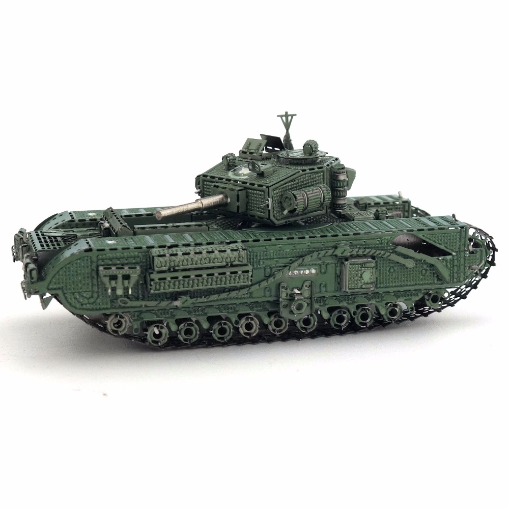 Color Churchill Tank 3D DIY Stereoscopic Metal Puzzle Nano-dimensional Assembling Model Birthday Gift Decoration Collection Toy 2