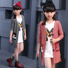 2017 autumn children's clothes baby long sleeve long style thin girls cardigan sweaters for girls kids knitted sweater outerwear(China)