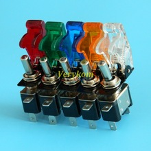 5pcs/lot 5 color/lot 12V 20A Auto Car Vichel Led Toggle Switch With Safety Cover Guard Red Blue Green Yellow White