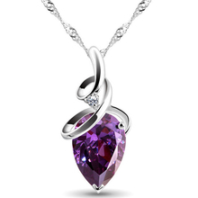 SHUANGR Women 3 Colors Crystal Rhinestone Drop Silver Color Chain Necklace Pendant For Women Jewelry Statement Bijouterie Gift(China)