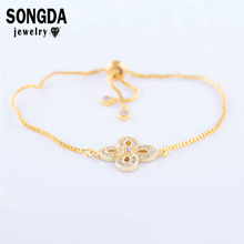 SONGDA Flower Pattern Link Bracelet Copper Zircon Micro Pave Fashion Young People CZ Jewelry Trendy Bangles Pulsera PQ0022
