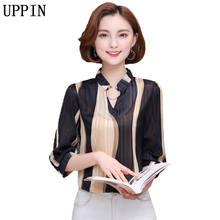 UPPIN 2017 New Stripe Print Women Blouses Ladies Summer 3/4 Sleeve Shirt Casual Plus Size 3XL 4XL Chiffon Blusas Female Tops