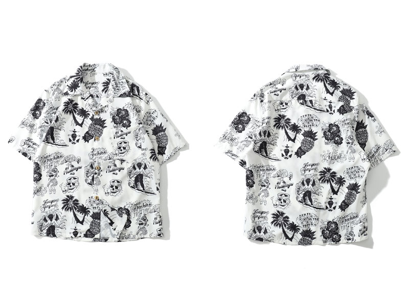 Graffiti Flamingo Palm Tree Pineapple Skull Print Shirts 2