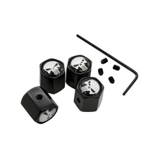 4Pcs/Set White Skull Punisher Theftproof Stainless Steel Black Wheel Tire Valve Stem Air Caps Auto Styling