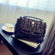 Fashion Punk Skull Rivet Bags Women Messenger Bag Restoring Ancient Ways in Europe Single Buckle Lady Briefcase Leather Handbags(China)