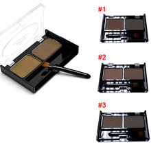 2 Color Mix Natural Waterproof Eyebrow Powder Brow Makeup Shadow With Brush  YF2017