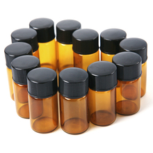 12PCS 2mL Mini Amber Glass Bottle Jar Essential Oil Bottle Orifice brown bottle Reducer & cap Refillable Bottles Glass Vials