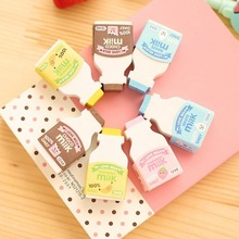 2pcs/pack Cute Milk Bottle design eraser  nice gift funny student gift kids's Toy office school Stationery supplies
