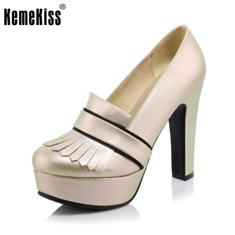 Brand Fashiom Women Shoes Elegant Tassel Round Toe High Heel Shoes Comfortable Platform Pumps Ladies Party Shoes Size 33-43<br>