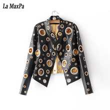 2017 New Fashion summer Elegant Lady Jackets solied Metal ring hole Short Jackets Long Sleeve Casual black silvery gold Jacket(China)