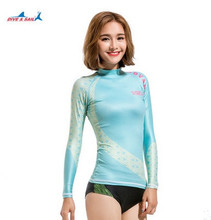 Free Ship New High Quality Lady Rash Guard Suit UV Protection Long Sleeves Windsurf Surfing Swimsuit Diving Top Bathing Wetsuit