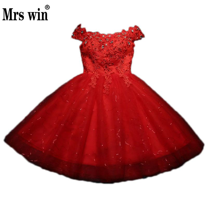 2018 Vestidos Verano Sweety A-line Evening Dress Short Boat Neck Banquet Evening Gown Party Dress Vestido Rojos Elegantes C(China)