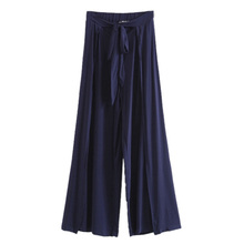 The waist strap side vent silky drape wrapped in thin loose trousers wide leg pants female color