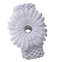 White Gerbera Daisy Flower White Crochet Headband Gerber - girls child baby toddler apparel head hair band bow bows girl soft in(China)