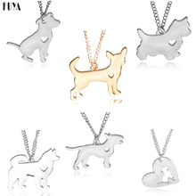 Fashion Hollow Heart Dogs Pendant Necklaces For Men Women Chihuahua Husky Bull Terrier Poodle Lovely dog necklace Animal Jewelry