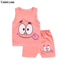 Unini-yun 6M-5T Cotton Sleeveless Baby Clothing Set Summer Cheap Newborn Toddler Baby Boys Clothes Set Roupas Bebes Infant Sets