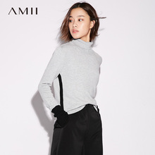 Amii Casual Minimalist Women Sweater 2017 Contrast Color Patchwork Turtleneck Long Sleeve Female Pullovers Sweaters(China)