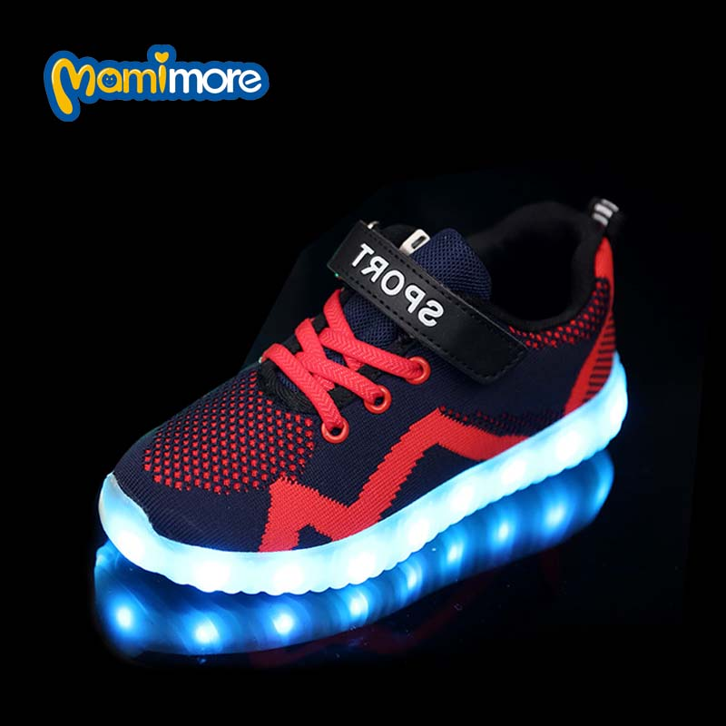 Children Light Shoes Usb Charging Boys Glowing Sneakers Girls Luminous Fluorescent Led Flash Sports Shoes Kids Size 26-30<br>