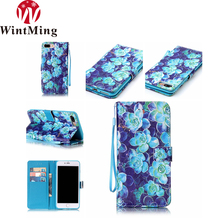 Fashion Elegant Glitter Wallet Style Leather Flip Phone Case, New Style 3D Painted Flower Magnetic Phone Shell For Iphone6