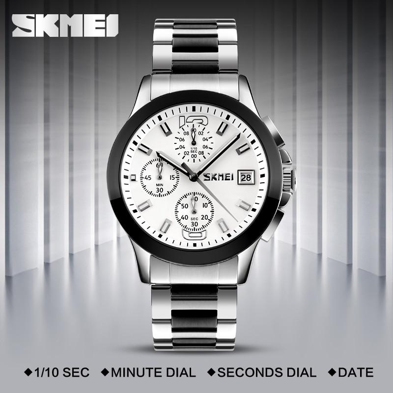 SKMEI Fashion Quartz-Watch Waterproof Multi Dial Stop Watch Japan Movement Men Wristwatches Steel Band Montre Homme Erkek Saat<br><br>Aliexpress