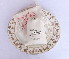 "Free Shipping! Newest Coming! Set of 48, ""Live Love Laugh"" Wedding Burlap and Lace Favor boxes Gifts Bags Burlap Drawstring Bags"