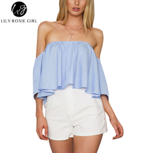 Fashion 2016 Blue Striped Crop Tops Women Elegant Off Shoulder Flared Sleeve Autumn Blouses Shirt Casual Beach Short Blusas Top