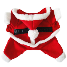 Santa Claus Dog Costume Christmas Pet Coat Products With Hat Puppy Dog Cat Supplies Outwear Clothes Red Black Belt Coats