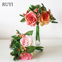 European Style Hand flower Hibiscus Rose Living Room Decoration Artificial Faker Silk Floral Flower Bouquet Plants pastoral(China)