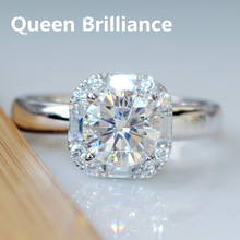 Queen Brilliance Gorgeous 1 Carat ct G-H Color Lab Grown Moissanite Diamond Ring Halo Engagement Wedding Ring 14K 585 White Gold(China)