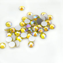 SS3-SS20 8size Citrine AB flat back nail art deco non hotfix rhinestones for Rhinestone & Decoration glue on stone(China)